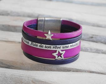 SALE Navy blue leather Cuff Bracelet, purple and silver stars (BR21) with loops