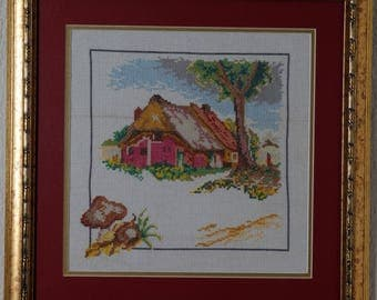 Framed Needle Work Wall Decor Picture  38x38 cm  Autumn