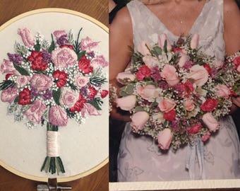 "8"" Custom Embroidered Wedding Bouquet Portrait"