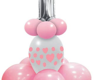 Pink first birthday party balloons, decoration kits, articles first birthday