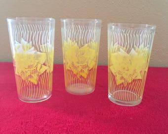 Vintage Drinking Glasses - Yellow Rose - Vintage Set of 3