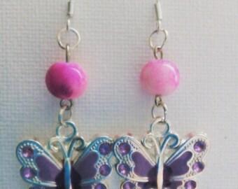 Earrings rhinestone Butterfly charm