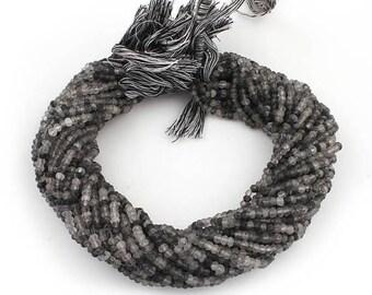 50% off 5 Strands Black Rutile 4mm Faceted Center Drill Rondelles, Black Rutile Gemstone Beads 13 Inches Long GR074