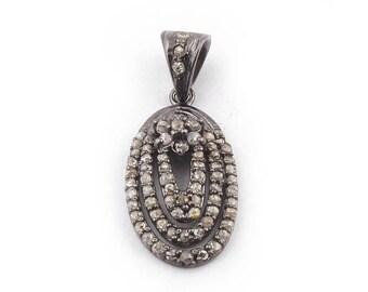 50% off 1 Pc Pave Diamond Designer Oval Pendant - 925 Sterling Silver - Diamond Antique Finish Pendant - Oval Pendant 21mmx15mm PDJ012