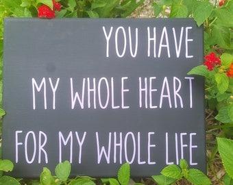 My whole heart wall canvas