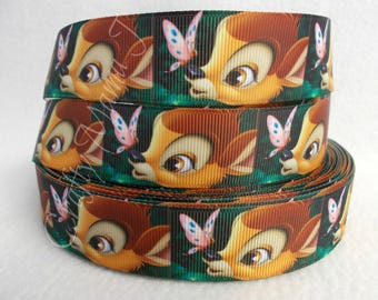 """SALE Bambi and Butterfly 1"""" Grosgrain Ribbon by the yard. Choose 3/5/10 yards. Walt Disney Movie based on the book Bambi, Disney Deer"""