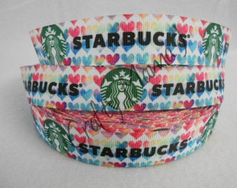 """Starbucks Coffee Emblem with Multi-color Hearts on 7/8"""" Grosgrain Ribbon by the yard. Choose 3/5/10 yards. WOW"""