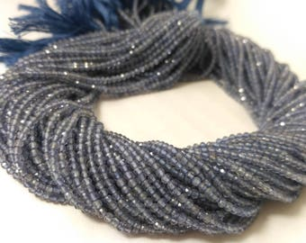 AAA 100% Natural Iolite Faceted Rondelle Beads 2-2.5MM Strands,Micro Iolite Beads,AAA Iolite Rondelle,Tiny Iolite Beads,Natural Neno Beads