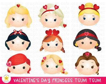 valentine's day clipart, tsum tsum clipart, princess tsum tsum clipart, princess valentine's day clipart, party, printable, love clipart