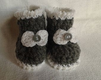 How gray and white newborn booties baby booties