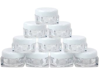 5 Gram 5 ml SQUARE Acrylic Clear Sample Jar Containers with White Lids - Perfect for Travel Ointments Salve Creams Toners Cosmetic Beauty