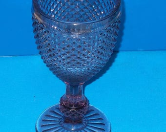Beautjful Purple Amethyst Wine Glass / Goblet With Diamond Cut Hobnails Around Glass And Stem