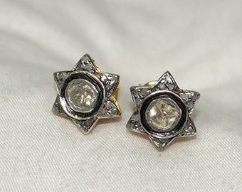 Victorian 2.10cts White Uncut diamond Pave Diamonds Sterling Silver Star Earrings Studs - 19061707