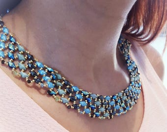 Beaded hand made necklace blue turquoise and gold