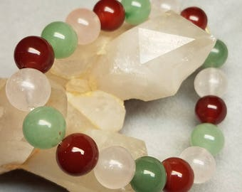 White, sage and carnelian quartz bracelet