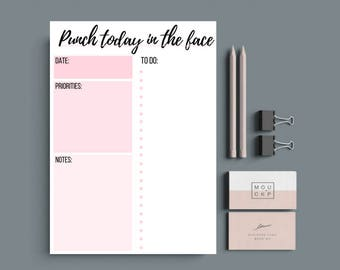 Printable daily planner, A4 Daily Agenda 8.5 X 11 Day planner, Punch today in the face quote, schedule, bullet point to-do list 2017 2018