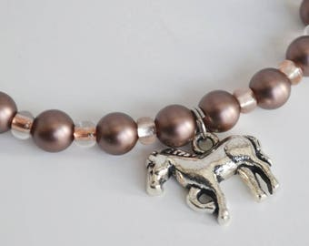 Horse Charm Bracelet with Brown Swarovski Simulated Pearls and Brown Czech Glass Beads