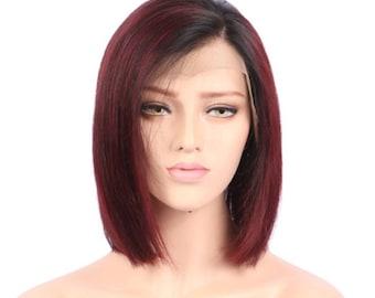 Brazilian human hair Lace Front ombré red blunt cut bob wig