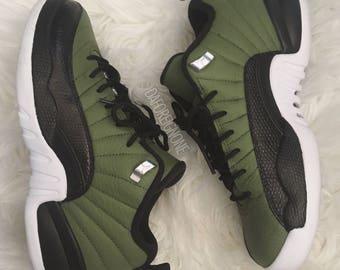 Custom Matte Olive Green / Black 5Y Lowtop Air Nike Jordan 12