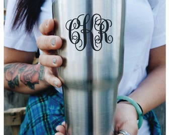 Vine Monogram CUSTOM Custom Engraved Tumbler with lid PERSONALIZED Gift Idea etched yeti tumbler Rambler 30 ounce steel tumbler