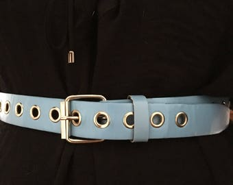 Baby blue leather belt with grommets