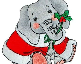 Expo BaZooples Iron-on Patch Applique Elsie Elephant in Santa Suit
