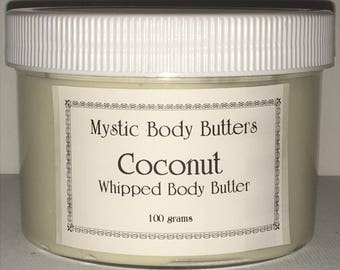 Coconut Whipped Body Butter~ 3 oil Blend~ Shea, Grapeseed and Avocado Oil~A Silky Whipped Butter~Absorbs Quickly~Non Greasy