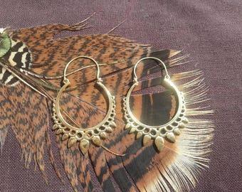 Handmade brass earrings, boho earrings, bohemian earrings, tribal earrings, gypsy earrings, psy earrings