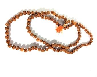 Rudraksha round beads necklace 26 inch