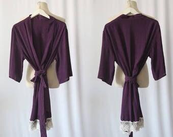 Cotton Robe,Lace Bridesmaid Robes,Cotton Bridesmaid Robes,Getting Ready Robes,Bridesmaid Gifts,Cheap Bridesmaid Gifts