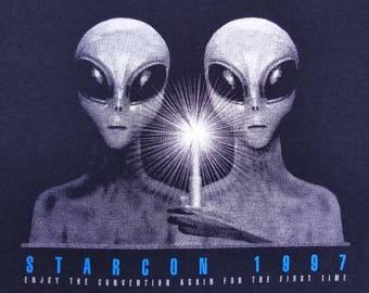 Vintage 90s 1997 Starcon UFO Gray Alien Retro Sci Fi T Shirt size Large.