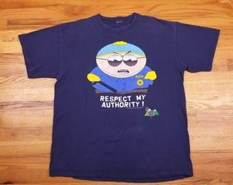 Vintage 1998 90s South Park Cartman Respect My Authority Cop T shirt Size XL
