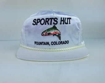 Vintage 90s Sports Hut Adjustable Trucker Hats Caps Snapback White Bass Fishing Shiny White Clear Nissin Fountain Colorado