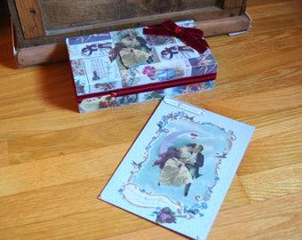 Box Valentine Burgundy velvet and card