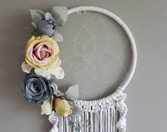 Pink and grey dream catcher, grey dream catcher, dream catcher, Dreamcatcher, girly dream catcher, girls nursery, pink wedding, wedding