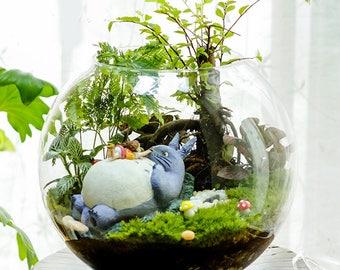 Set of 10 Girl Sit on Big Totoro Ladybugs Mushroom and Stone Miniature Fairy Garden Supplies Ghibli Figurines DIY Terrarium Accessories