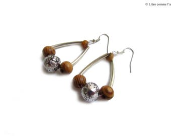 Earrings ethnic style metal and wood
