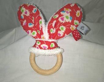 Wooden teething ring, Bunny ear, TILDA fabric