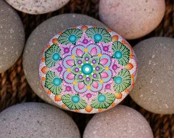 3.2x2.8 inch Hand painted mandala on river rock/mandala stone by Katy