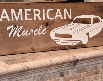 American Muscle wood sign