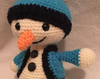Amigurumi Christmas happy snowman blue