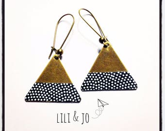 Bohemian collection: triangles, black Japanese paper with white polka dots earrings