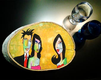 Yellow Jealousy - for Jealous Woman Hand Painted Wood Slice Natural Wood Decor, Original Gift for Jealous Girl Art Deco Jewel Tray for Woman