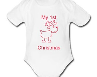 My 1st christmas Reindeer Embroidered Baby's Bodysuit