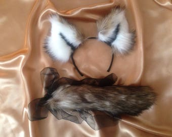 Realistic wolf ears, tail, collar and bracelet for cosplay, Fancy dress and pet play