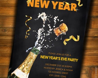 New Years Eve Party Invitation, New Years Party Invitation, Happy New Year, Adult New Year Party Invitation C13