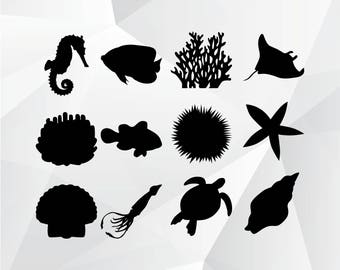 Fish,starfish,squid,etc... svg,png,jpg for Print,Design,Silhouette,Cricut and any more