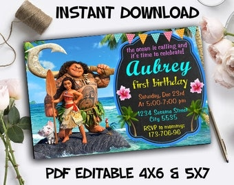 Moana Invitation Instant Download, Moana Invitation Digital, Moana Instant Download, Moana PDF Editable Template, Moana Editable Invitation
