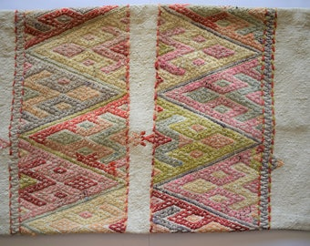 large kilim pillow,vintage cushion,boho oriental rug pillow, lumbar  cushion, turkish kilim pillow, anatolian rug, rectangular pillow, no302