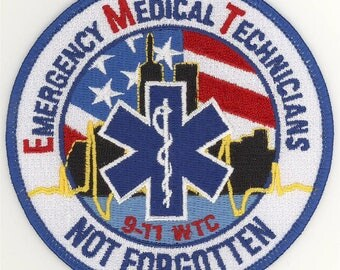 "91101 EMT EMS Emergency Medical Technician Not Forgotten Patch (4"")"